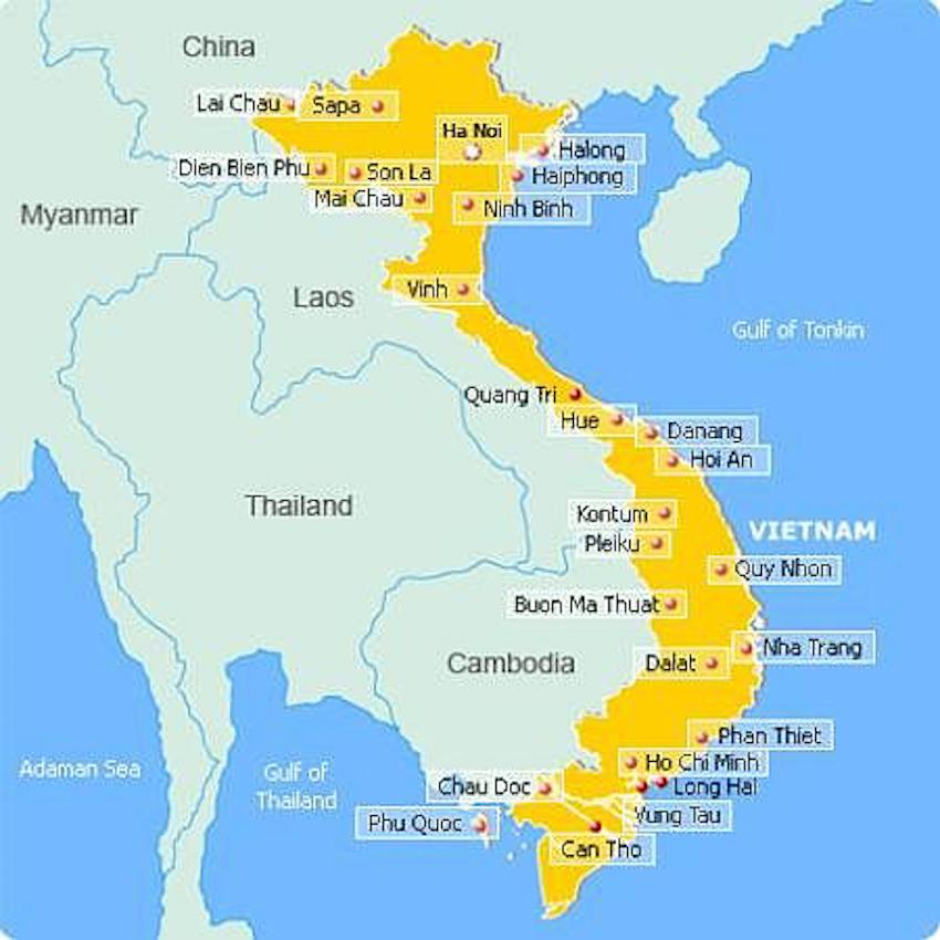 Khoảng cách đường bộ giữa các tỉnh thành VN