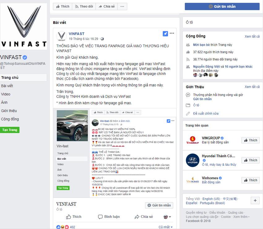 Vinfast phản hồi về thông tin tặng xe cho khách hàng
