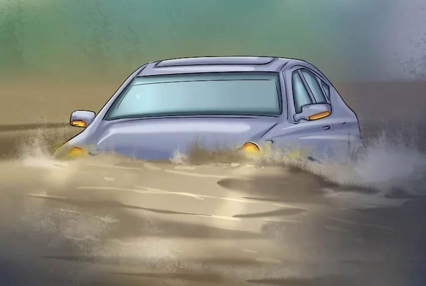 Lái xe an toàn qua vùng ngập nước với 8 bước đơn giản
