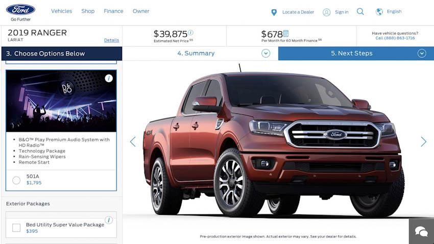 Ford Ranger 2019 giá bán từ 24.000 USD tại Mỹ