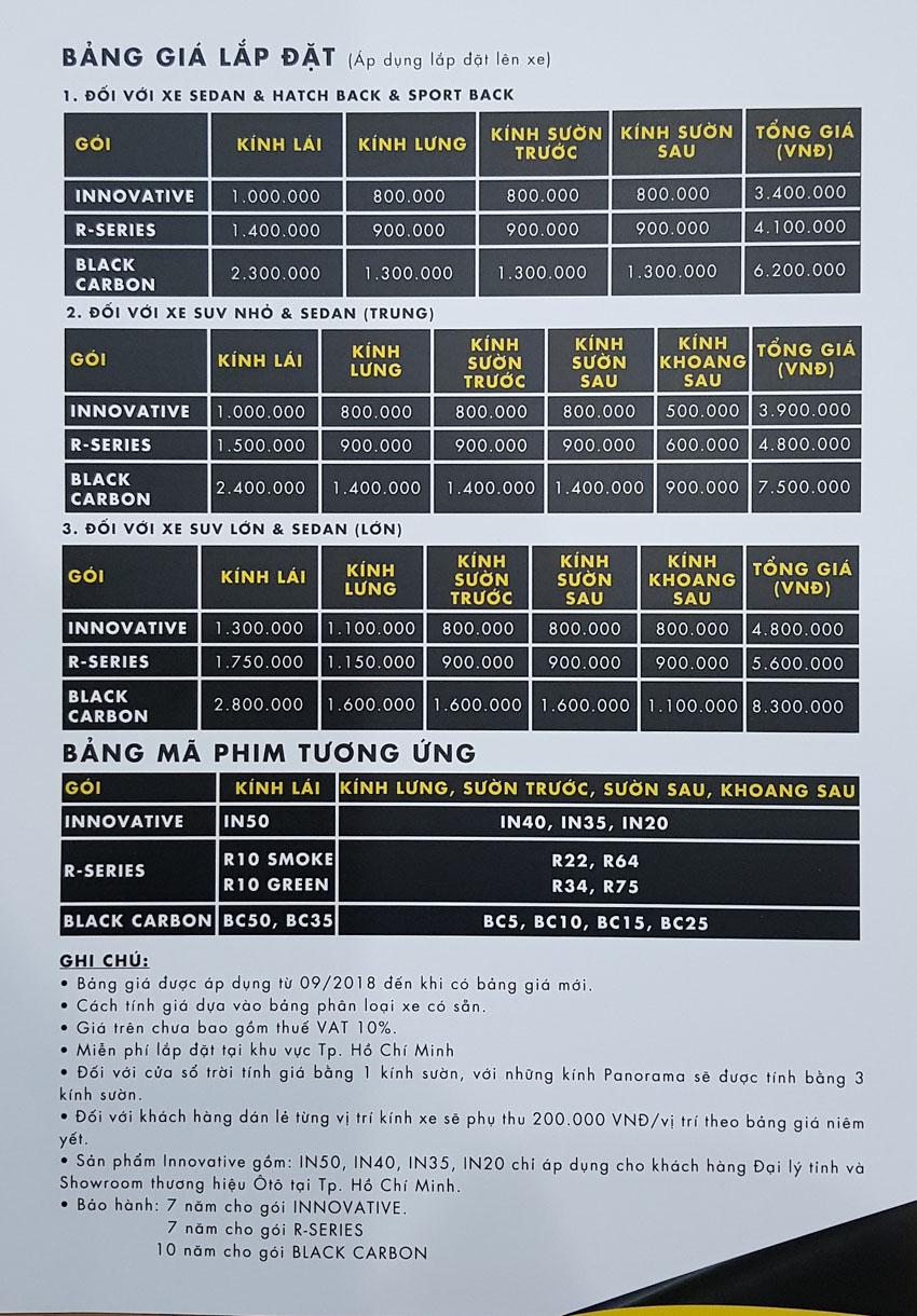 bảng giá phim cách nhiệt Hi-Kool