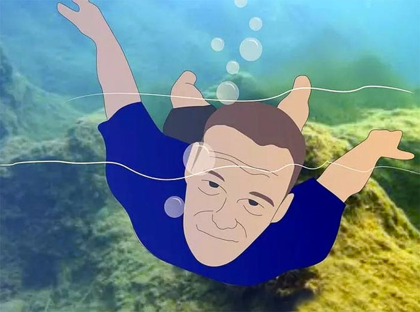 Bơi về hướng có ánh sáng hoặc đơn giản là theo hướng các bọt không khí đang nổi lên