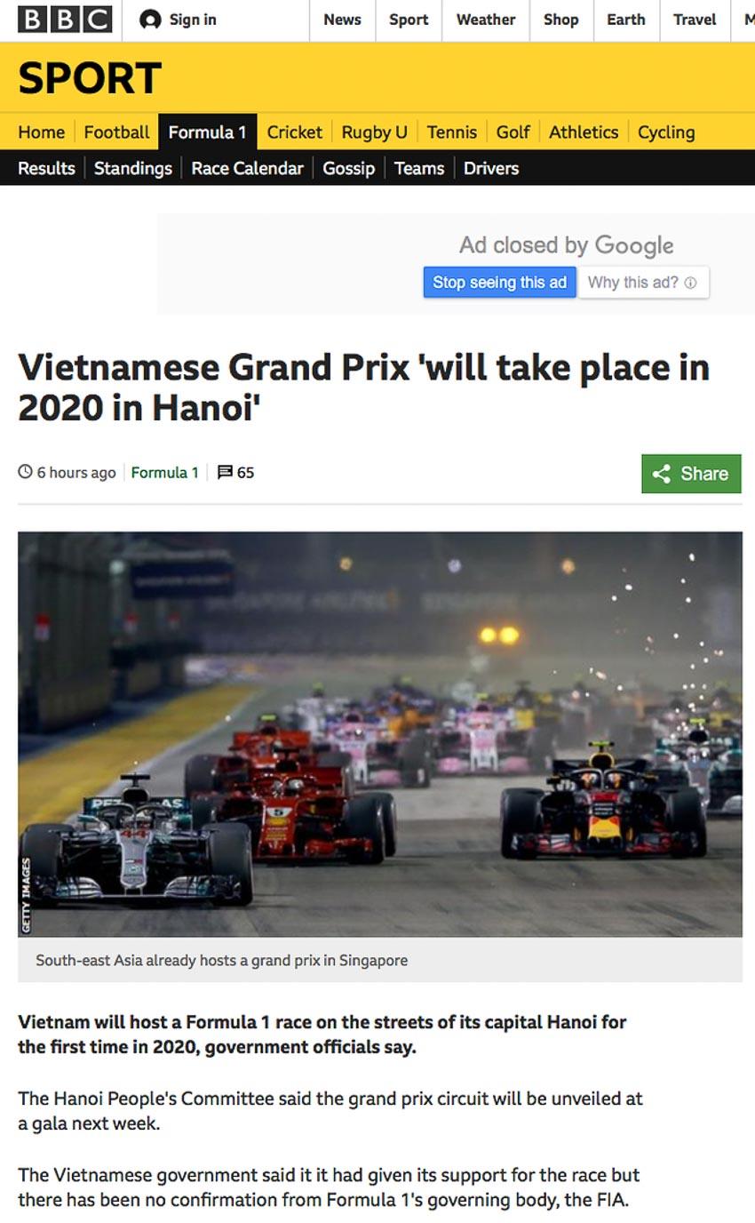 Việt Nam tổ chức một chặng đua F1 vào năm 2020 1