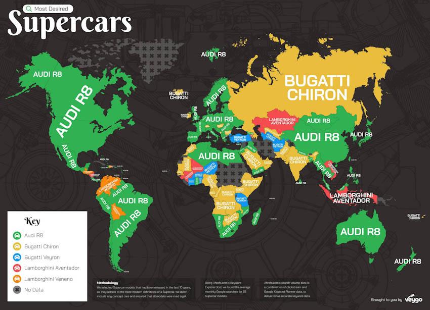 Siêu xe nào được tìm kiếm nhiều nhất trên Google
