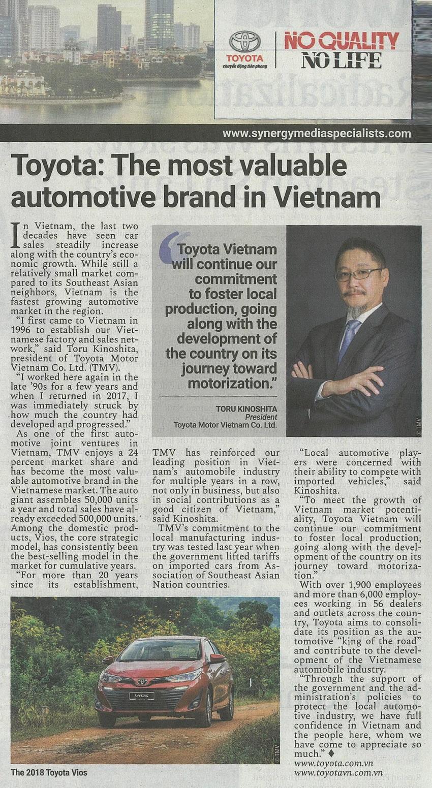 Japan Times: Toyota - Thương hiệu ô tô hàng đầu tại Việt Nam 3