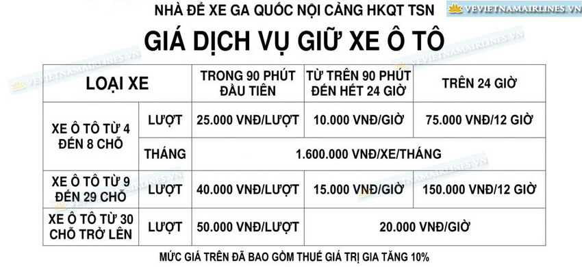 Bảng giá gửi xe tại sân bay Tân Sơn Nhất