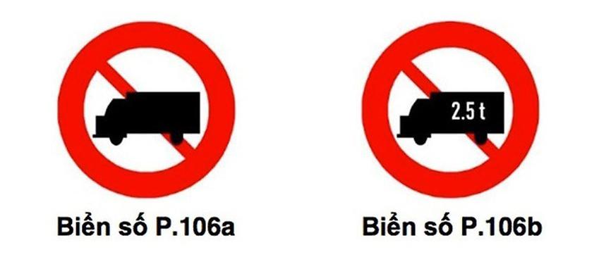 Biển cấm xe tải chung sẽ không xác định khối lượng chuyên chở - 2