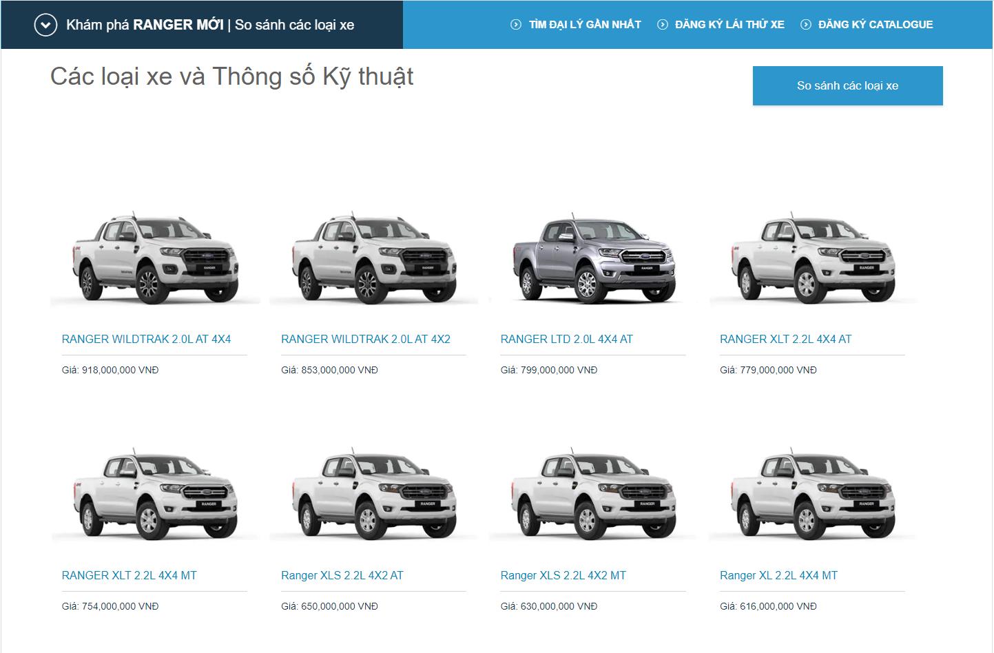 Ford Ranger dòng bán tải bán chạy nhất nước ta có tới 8 phiên bản khác nhau.