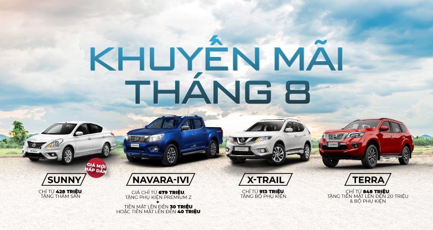 Nissan Sunny có giá mới và ưu đãi tháng 8 cho các dòng xe Nissan